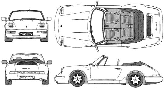 1990 Porsche 911 964 Carrera 2 Cabriolet blueprints free