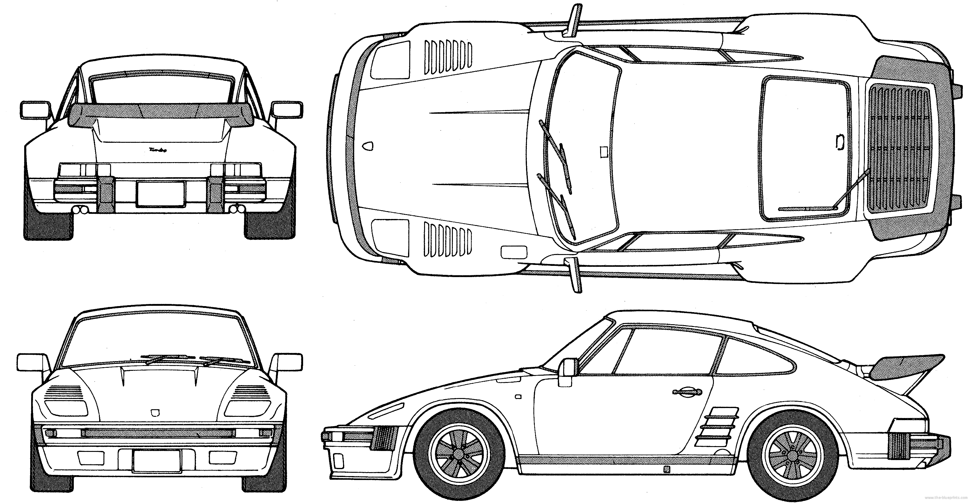Porsche 911 Flatnose Coupe Blueprints Free