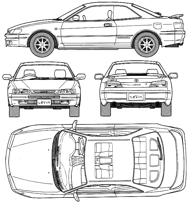 1996 Toyota Corolla Levin BZ-G (AE111) Coupe blueprints