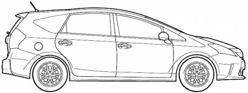 2011 Toyota Prius Alpha CX Hatchback blueprints free