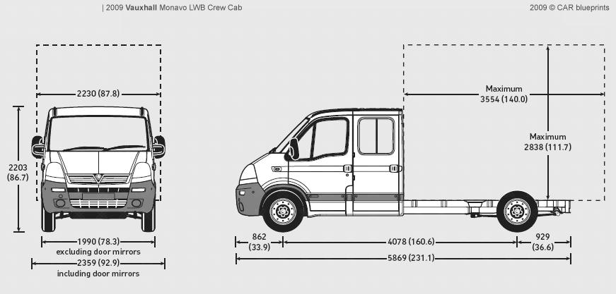 2009 Vauxhall Movano LWB Crew Cab Heavy Truck blueprints