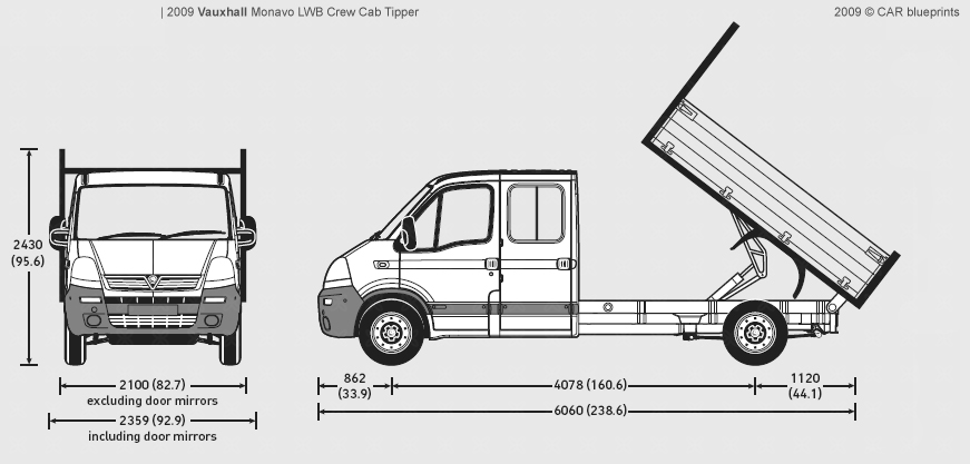 2009 Vauxhall Movano LWB Crew Cab Tipper Heavy Truck