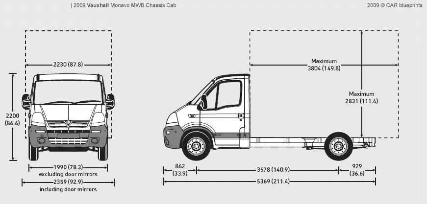 2009 Vauxhall Movano MWB Chassis Cab Heavy Truck