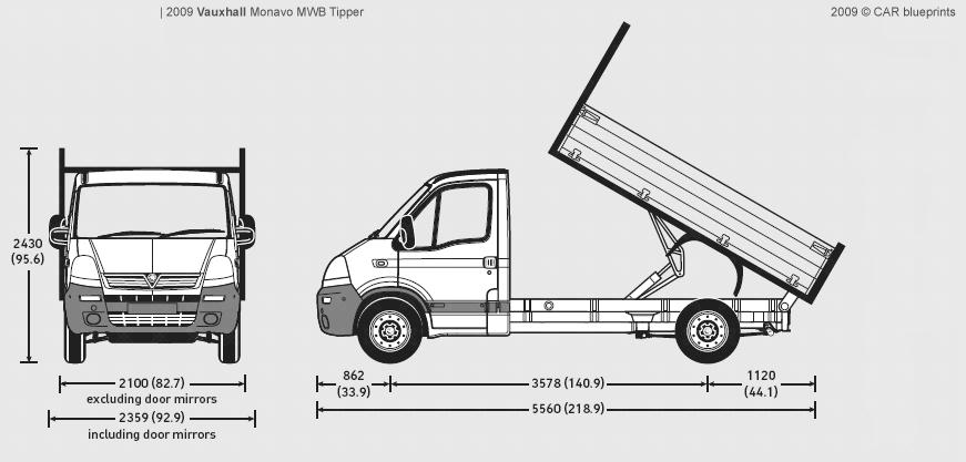 2009 Vauxhall Movano MWB Tipper Heavy Truck blueprints