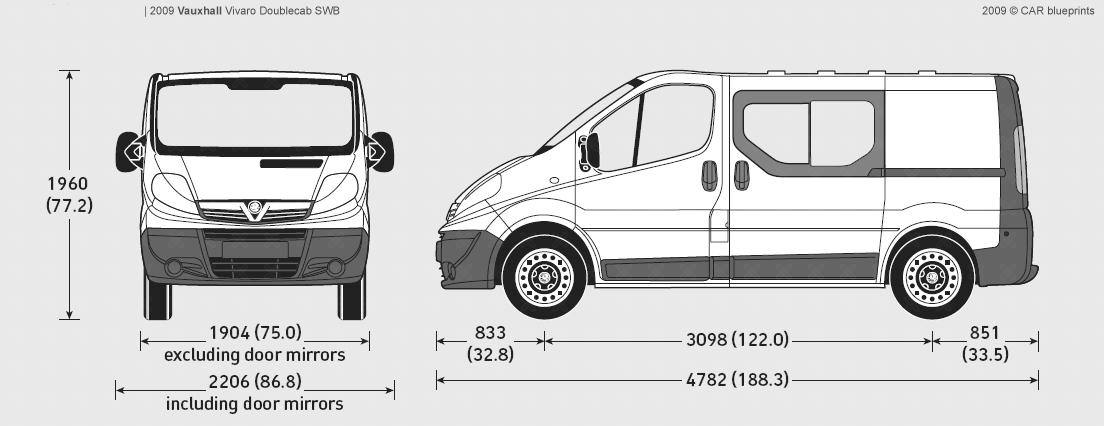 2009 Vauxhall Vivaro Doublecab SWB Van blueprints free