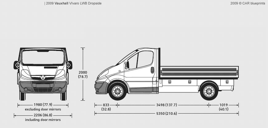 2009 Vauxhall Vivaro LWB Dropside Heavy Truck blueprints