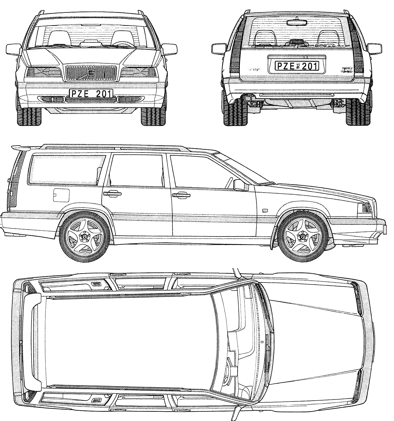 Volvo 850 Estate Wagon Blueprints Free