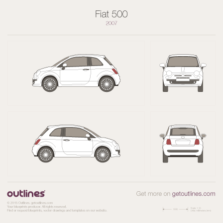 2007 Fiat 500 New / Nuova 500 Hatchback drawings