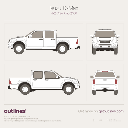 2008 Isuzu D-Max Crew Cab Facelift Pickup Truck drawings