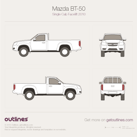 2008 Mazda BT-50 Single Cab Facelift Pickup Truck drawings
