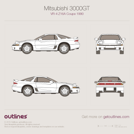1990 Mitsubishi 3000GT drawings and vector blueprints
