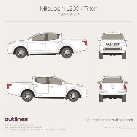 2015 Mitsubishi L200 Double Cab 4x4 Pickup Truck drawings