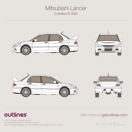 2005 Mitsubishi Lancer Evolution IX Sedan drawings