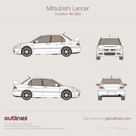 2003 Mitsubishi Lancer Evolution VIII Sedan drawings