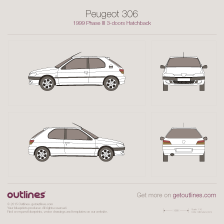 1999 Peugeot 306 Phase III 3-doors Hatchback drawings