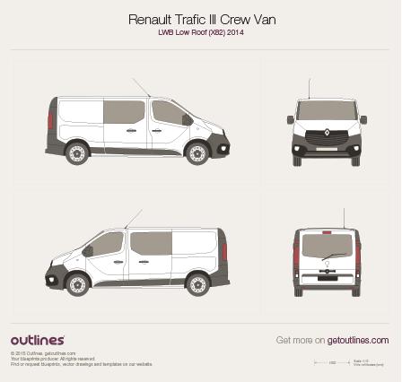 2014 Renault Trafic X82 Crew Van LWB Low Roof Van drawings