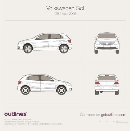 2009 Volkswagen Gol G5 Brasil 5-door Hatchback drawings