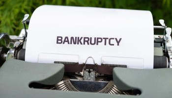 bankruptcy written on a typewriter
