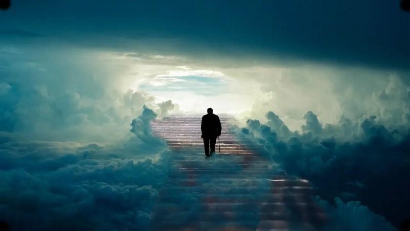 man walking to the heavens