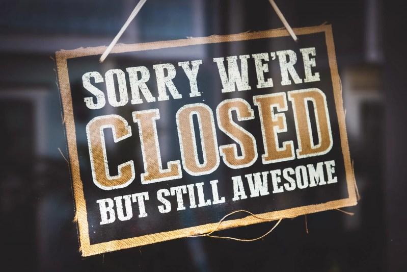 sorry closed sign