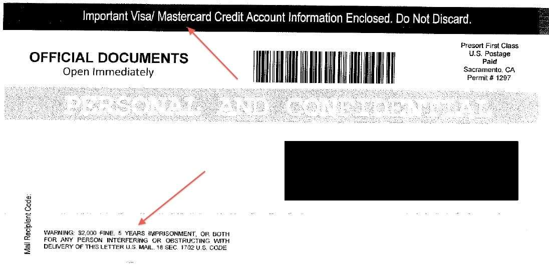 as you can see from the cover of the mailer it appears to contain information about the recipients visa or mastercard account it also contains an official