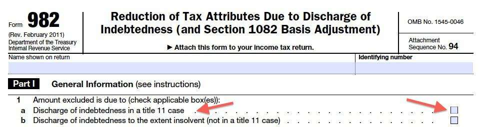 Worksheet Form 982 Worksheet irs form 982 is your friend if you got a 1099 c for those that eliminate their debt in bankruptcy there no tax liability all of the forgiven its just simple checkbox on 9