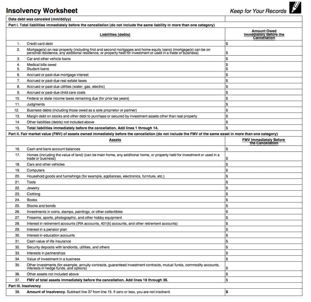 Irs Form 982 Insolvency Worksheet