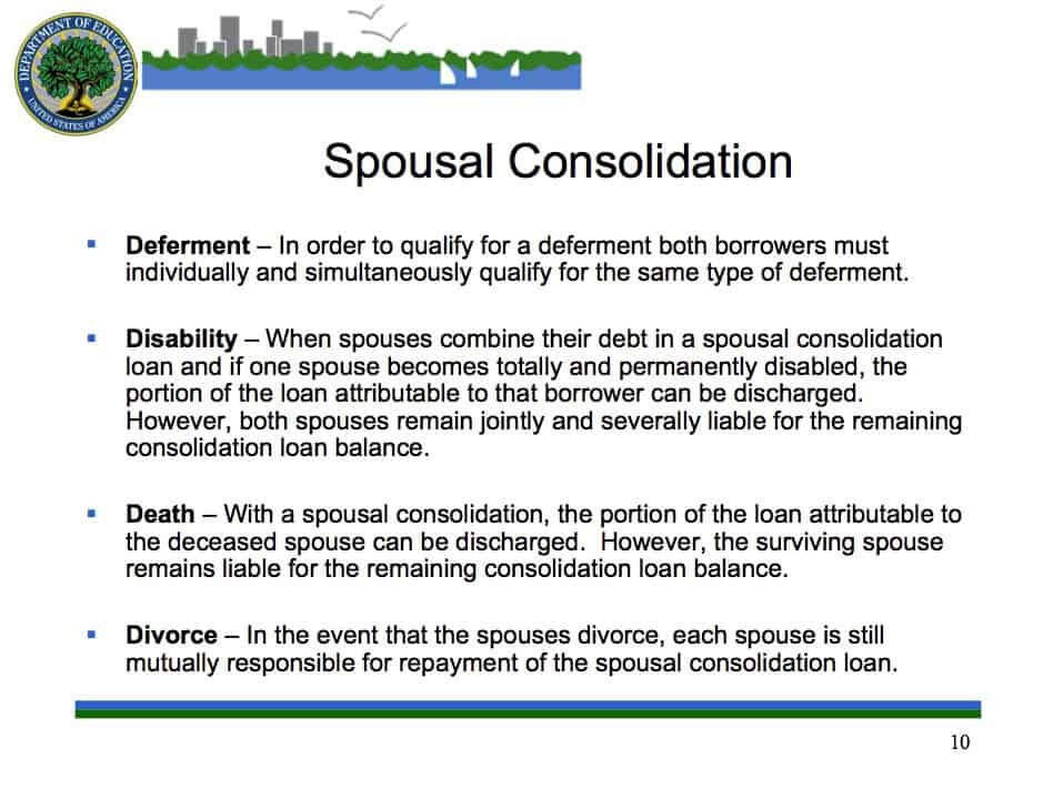 Consolidating loans with spouse