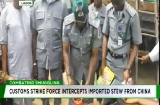 Nigerian customs strike force intercepts containers of imported 'Stew' from China