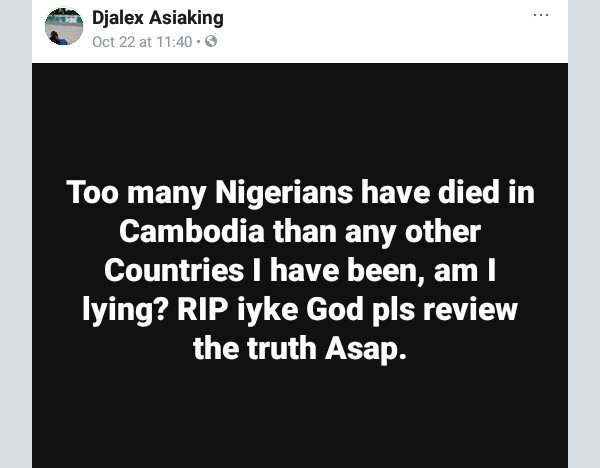 Man raises alarm over death of Nigerians in Cambodia, says people aren't talking about it as they are scared