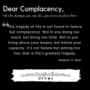 How to stop being complacent. Quote