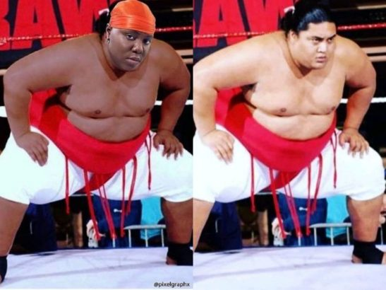 Teni reacts to being photoshopped as wrestler Yokozuna