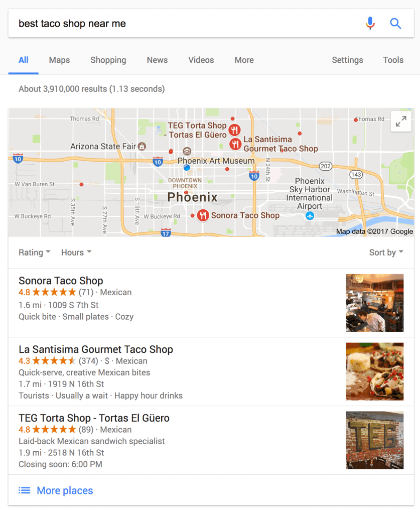 "Google search for the ""best taco shop near me"" screenshot"