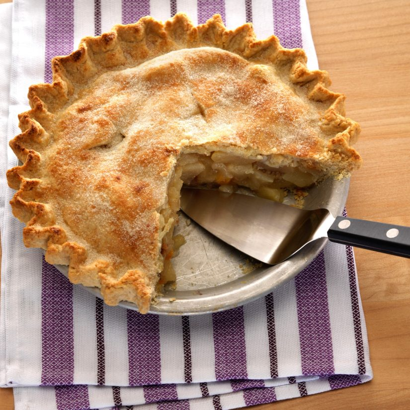 Flavorful pie combining Red Anjou pears and the subtle tartness of dried apricots.
