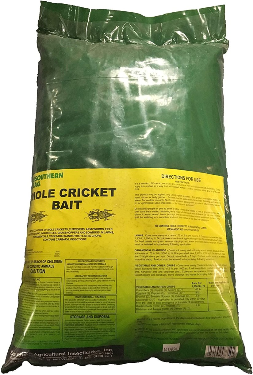 Mole cricket bait same formulation used by golf courses and sports fields Baits do not require watering in Low use rate.
