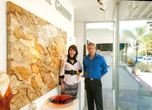 Keith Christopher at the Hodgell Gallery on Palm Avenue shows Pamela the latest acquisitions of cutting edge wall art and sophisticated art glass.
