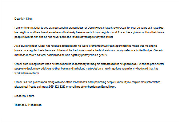 Personal Reference Letter, Personal Reference Letter Sample, Personal Letter  Of Recommendation, Personal Recommendation