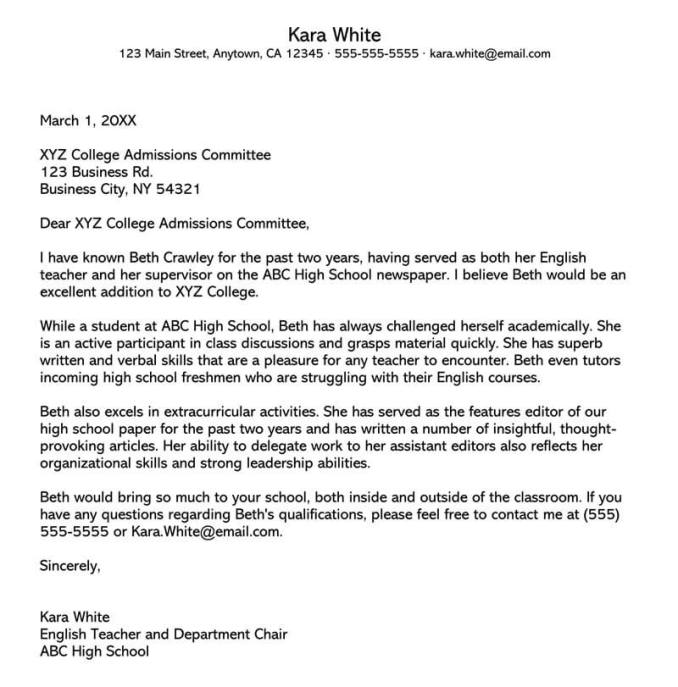 Letter of Recommendation for College Admission