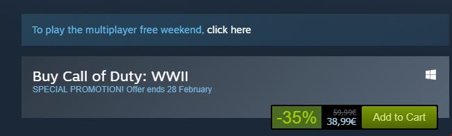 Call of Duty WWII free Weekend Steam