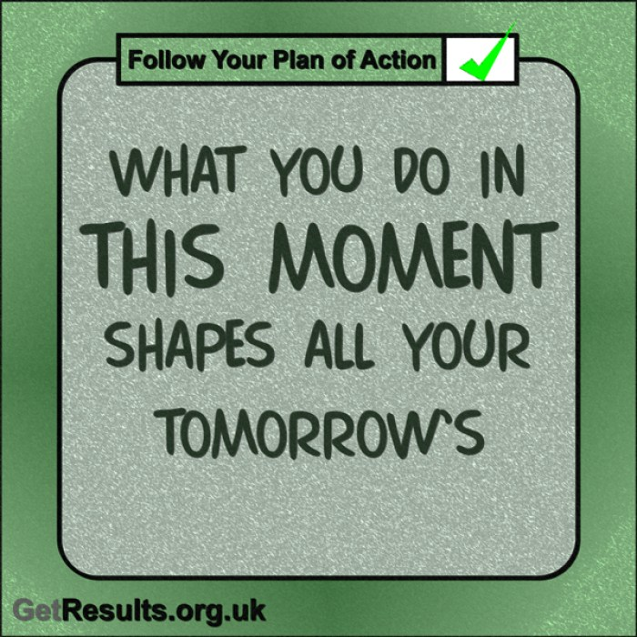 "Get Results: ""What you do in this moment shapes all your tomorrows."""