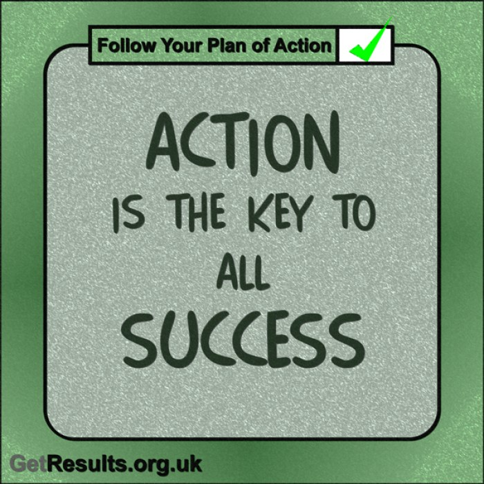 "Get Results: ""Action is the key to all success."""