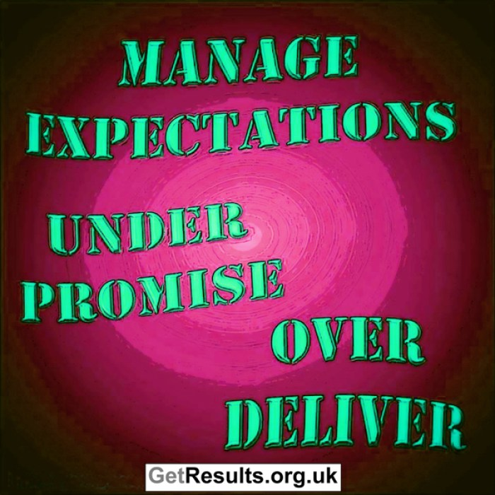 Get Results: Mange expectations - under promise over deliver