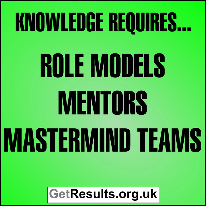 Get Results: Knowledge requires roles models mentors mastermind teams