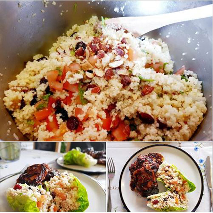 Get results: couscous and sticky chicken bbq