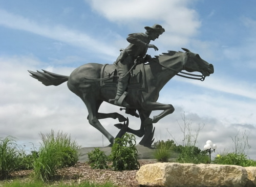 Bronze Pony Express Horse & Rider