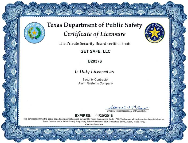 Security Alarm License Texas