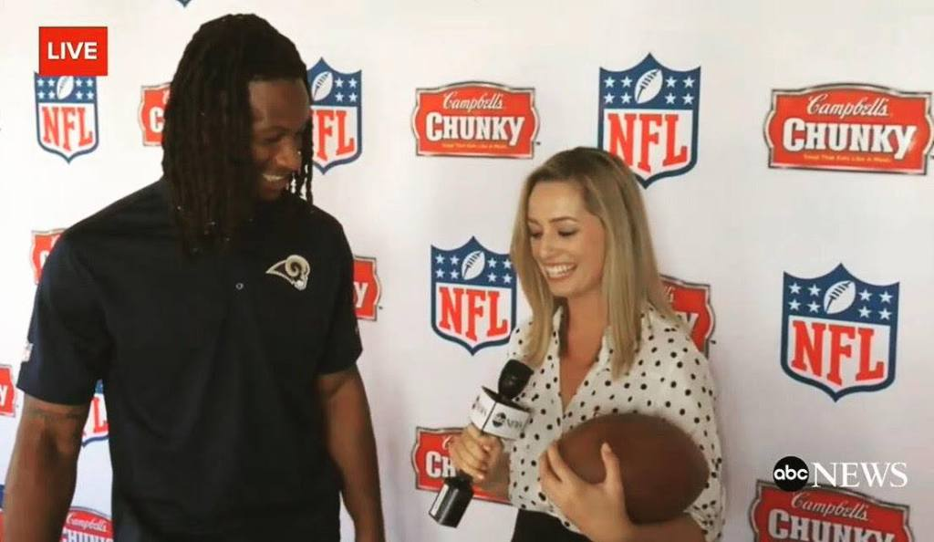 Interviewing NFL player Todd Gurley.