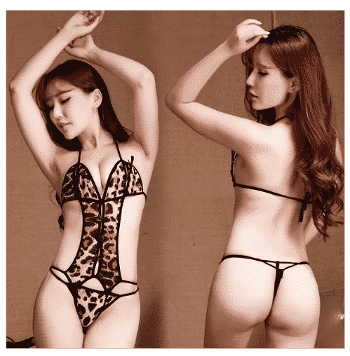 New sexy lingerie Kaidang Luru leopard suit lace three ladies clothing Siamese transparent rope temptation