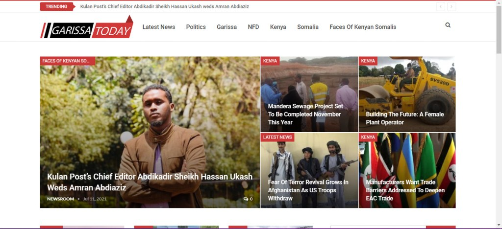 Garissa Today News Website by getsharp developers