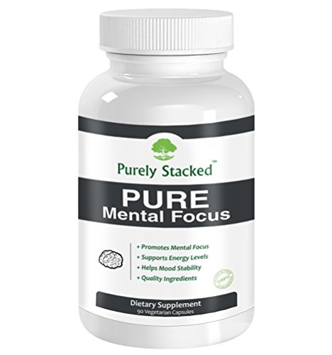 Purely Stacked PURE Mental Focus – Brain Supplement – All Natural Advanced Quality Formulated Cognitive Enhancement. Brain Food 90 Vegetarian Capsules – Maximum Strength Formula